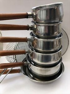 Set Of Vintage Prestige Stainless Steel Copper Bottom Saucepans + Frying Pan