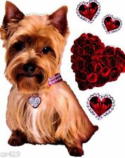 """5.5"""" PUPPY DOG TERRIER VALENTINE ROSE SET HOLIDAY  WINDOW CLING DECAL CUT OUT"""