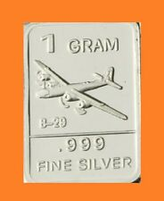 "New 1 gm. Whason Mint .999 silver bar - ""B-29 Bomber Style"" Plane  ++ADD-ONs OK!"