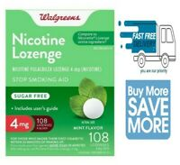Walgreens Nicotine Lozenge 4 mg Stop Smoking Mint 108 Compared  Nicorette 03/22
