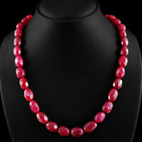 401.90 CTS EARTH MINED OVAL SHAPED FACETED RICH RED RUBY BEADS NECKLACE STRAND
