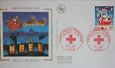 ENVELOPPE PREMIER JOUR - 9 x 16,5 cm - ANNEE 2001 - CROIX-ROUGE FIN D'ANNEE