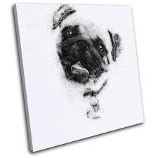Pug Sketch Modern  Animals SINGLE TOILE murale ART Photo Print