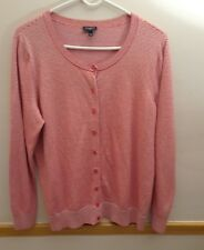 Talbots Cardigan Sweater Sz 1X Red & silver Stripped Front  Button Thin Knit