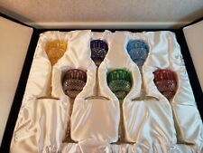 Faberge Xenia Imperial multi color cut to clear 6 wine glasses hocks goblets