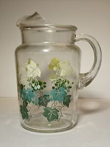 Vintage Clear Pitcher Yellow And Green Leaves