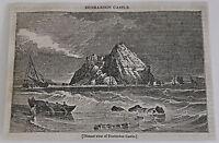 1832 magazine engraving ~ Distant view of DUNBARTON CASTLE, Scotland