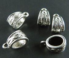 100Pcs Tibetan Silver Twining Charms  Bail Bead Fit Bracelet 14x7mm 10309