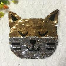 Reversible Sequins Cat Pach DIY Sewing Iron on Clothes Decoration Applique Craft