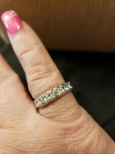Espo 14kt white Gold Filled Ring With Cz's Size 7 Width 5.2mm in good condition