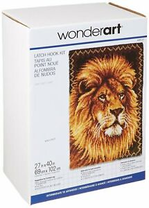 """Lion Latch Hook Kit 27x40"""" By Caron. Plain canvas, coloured graph and yarn"""