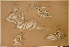 Dessin Original Fusain Craie Blanche LUC LAFNET (1899-1939) Etude de Nu LL15