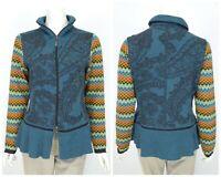 Womens Eva & Claudi Jumper Cardigan Full Zip Paisley Blue Wool Knit Size XL