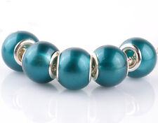5pcs silver pearl Blue Hole spacer beads fit Charm European Bracelet DIY #A917