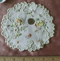 """Antique c1890-1900 Floral Silk Society Work Hand Embroidered Doilies~5.5"""" Round"""