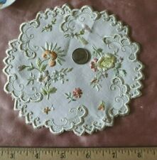 "Antique c1890-1900 Floral Silk Society Work Hand Embroidered Doilies~5.5"" Round"