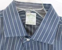 Brooks Brothers Milano Non-Iron Supima Button Front Shirt Blue Sz 16.5 34 Mens L