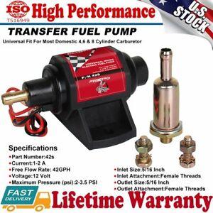 Universal Micro Electric Fuel Pump Low Pressure 42S 12V 2-3.5 PSI 42GPH Gasoline