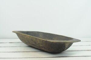 "Antique 19th C Primitive Hand Carved 36"" Wood Dough Trencher Bowl Folk Art Rep"