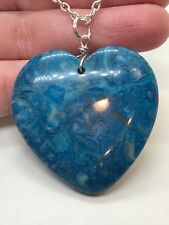 "Geode Heart Agate Druzy Crystal Tibetan Silver 18"" Necklace D-912"