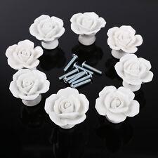 8pcs Vintage Ceramic Rose Flower Door Knob Drawer Cupboard Pull Handle White