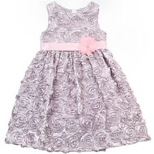 NWT Rare Editions Too Girls Silver w/ Pink Flower Rose Soutache Dress 4 Dressy