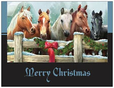 20 CHRISTMAS Wreath HORSES Stable Greeting Flat CARDS Envelopes Seals