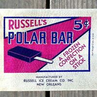 2 Vintage Original RUSSELL'S POLAR BEAR Ice Cream Bag 1940s Unused New Orleans