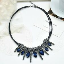 Vintage Inspired Unique sparkly Water Drop rubber cord Necklace Statement Choker