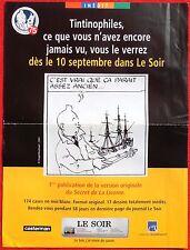 Tintin. AFFICHE journal LE SOIR : publication Secret de La Licorne. 2004