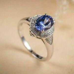 2Ct Oval Cut Blue Tanzanite & Diamond Halo Engagement Ring 14K White Gold Finish