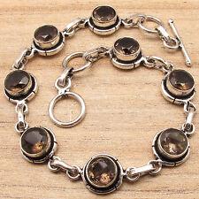 """LINK Bracelet 7 5/8"""" ! Brown SMOKY QUARTZ 8 Gemset Silver Plated Jewelry"""