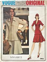 1970's VTG VOGUE Paris Orig. Misses' Top&Skirt Nina Ricci Pattern 2903 14 UNCUT