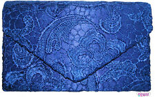 Ladies Blue Satin & Lace Envelope Style Clutch Bag Evening Prom Races Bridal