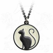 *MEOW AT THE MOON* Alchemy Gothic 1977 Black Cat Pewter Pendant (P824)