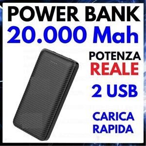 POWER BANK 20000 mah BATTERIA ESTERNA 2 USB CARICABATTERIE PORTATILE UNIVERSALE