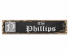SP0484 The PHILLIPS Family name Plate Sign Bar Store Cafe Home Chic Decor Gift