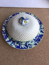 fostoria Lidded Muffin dish / butter dish 19702 Japan blue green floral lid