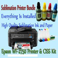 Sublimation Printer Bundle,Sublimation Ink,100 Sub Paper,Epson Workforce WF2750