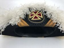 Antique Fraternal Masonic Templer Ceremony Regala Ostrich Feather Hat and case