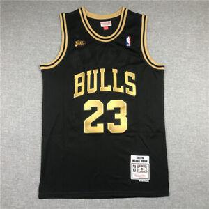 23# Michael Jordan Chicago Bulls Finals Classics Swingman Jersey Black Gold