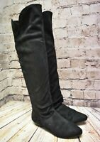 Womens Atmosphere Black Faux Suede Pull On Low Heel Over The Knee Boots UK4 EU37