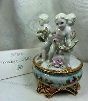 Vintage Porcelain floral design & gold Trinket Box w/ Cherubs on lid signed J.J.