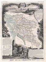 GEOGRAPHY MAP ILLUSTRATED ANTIQUE LEVASSEUR CHARENTE MARITIME ART PRINT BB4366B