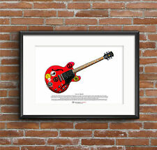 Alvin Lee's GIBSON ES-335 BIG ROUGE ART AFFICHE A3 taille