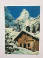 "3D Lenticular Postcard ""A CHURCH IN ALPS"" - Printed by Toppan, Tokyo, Japan"