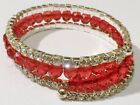 bracelet style vintage tortillon 4 rangs perle cristal rubis facette * 4476