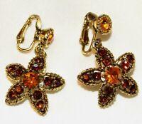 Vintage High End Star Shaped Amber Rhinestone Dangle Clip Back Earrings N618