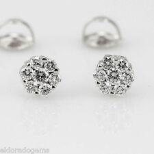 0.75 CT. VS2 ROUND BRILLIANT DIAMOND CLUSTER STUD SCREW EARRINGS 14K WHITE GOLD