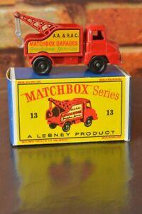 Vintage Matchbox Lesney 13C Ford Thames Wreck Truck + New D box